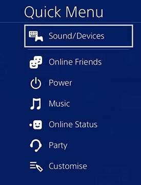 Quick menu option on PS4 screen