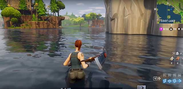 Trudging through water at fortnite